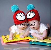 Baby Hat Twin Baby Photo Props Beanies Hat Newborn Baby Crochet Cap Photography Props Infant Figure Cap 1pcs MZS-14063