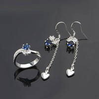 Promotion,The Lowest price! New arrival High quality gifts wholesale 925 silver jewelry set Free shipping earrings + ring ,S670