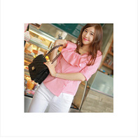 New arrive 2014women's shirt small and pure and fresh spring stripe shirt sweet shirt short sleeve blouse Free shipping