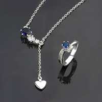 Top quality Free shipping Promotion,The Lowest price! 2014 New Arrival wholesale 925 silver jewelry set necklace + ring,S671