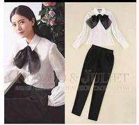 European 2014 new arrive autumn women's shirt  with bowknot shirt long sleeve shirt + pants Free shipping