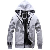 [ Broken code clearance ] thick warm fashion men cardigan sweater Korean version of casual hooded sweatshirt jacket LW8022