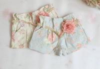 2014 Summer Korean Print Girls Shorts Kid Girls Cotton Flower Denim Shorts With Fashion Belt 5Pcs/Lot Free Shipping