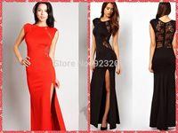 Plus Size 2014 Summer Womens Fashion Back Lace Dress,Lady Sexy Bodycon High Waist Dresses,Girls Split Long Dress Evening Dress