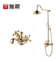 Gold classical bathroom shower set basin copper shower head nozzle sanitary ware set Rainfall shower heads