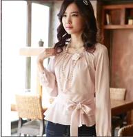 2014 new arrive Women's shirt  cultivate one's morality   white shirt long sleeve  chiffon shirts Free shipping
