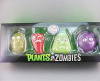 25sets/lot Plants vs Zombies Anime Action Figure 7-10cm 4pcs/set PVZ Collection Figures Toys