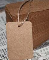 50pcs 6*4cm blank price tags kraft paper hang tags with string DIY custom sticker&label kraft gift tags Retro rectangle stickers