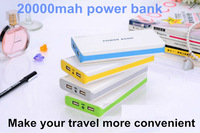 1 set Free shipping Mobile Power Portable Battery Charger Power Bank 20000mAh External Battery Pack Dual USB Battery Bank