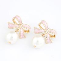 Female sweet bow pearl stud earring fashion elegant women accessories