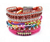 HB131 High Quality Fashion handmade 2014 Hot Selling Lady's Bangle Brazilian Bohemia charm bracelet with magnetic clasp 6pcs/lot