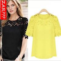Zaro 2014 Women Lace Top Yellow White Black Hollow Out Short T shirt Blouse DFWB-060