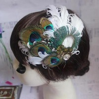 Peacock feather barrette bride photo fashion hairpin feather clip patchwork hair decoration