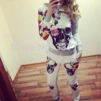 2014 sport suit 3D skull flower women sweatshirt+pants leggings 2pic /lot one set tracksuit printed sweatshirt ISWAG sportwear