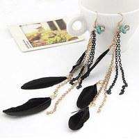 Fashion Metal Tassel Long Black Feather Earring For Women