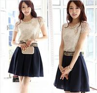 Europe 2014 big yards printed chiffon blouse with short sleeves shirt silk shirt Free shipping