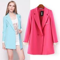 2014  European & American chaquetas mujer women blazer feminino long sleeve solid two buckle rummaged Slim casual suit jackets