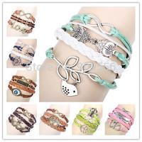 2014 Newest Hot Sale Fashion Charm Infinity Bracelet Bangles Vintage Leather Bracelet Multilayer Braided Bracelets