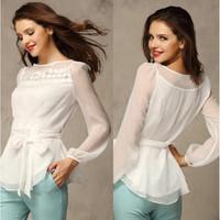 2014 Autumn new arrive top bud silk shirt chiffon shirt with long sleeves shirt Free shipping