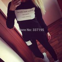 2014 woman's tracksuit ballinciaga harlem sweatshirt+pants 2pic/ lot sport suit women 3d printed sweatshirt hoodies tracksuit