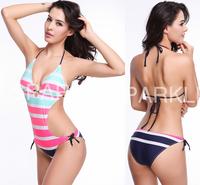swimwear women's push up swimsuit,New 2014 contrast color stripe one piece bathing suit for women beachwear sexy biquinis women