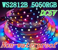 FREE SHIPPING 1M 60 Pixels Individually Addressable WS2812B WS2812 5050 RGB LED Strip 5V Black PCB