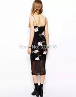 Free shipping !  2014 Girls  Spaghetti Strap Orchid  Pattern Sexy Slim fit Chiffon Dress ladies fashion dress evening dress