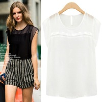 Short-sleeve chiffon shirt plus size loose women's chiffon top all-match white shirt fashion