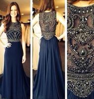 robe de soiree evening dresses 2014 New Sleeveless Scoop Neck Dark Blue Chiffon Crystals Long Prom Dresses Formal Evening Gowns