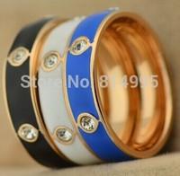 14k rose gold plated crystal enamel rings