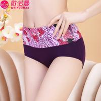free shipping 2014 panties female high waist abdomen panties drawing print briefs plus size women's sexy female panties