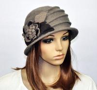 M92 Cute Flowers Winter Warm Wool Acrylic Women's Hat Beanie Ski Cap Dark Grey