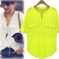 2014 women's fashion short-sleeve V-neck 100% cotton modal T-shirt basic t shirt summer shirt free shipping