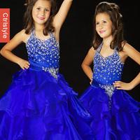 Ctrlstyle Fashion NEW 2014 Princess dress flower girl dress performance clothing crystal ball gown royal blue sweep train dress