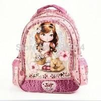 Free Shipping New 2014 Fashion Children Kawaii Lori Girls Lace Design School Bags Backpack For Girls-Purple