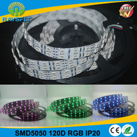 Flexible 5m/reel dc12v 120leds/meter RGB SMD5050 ip20 rgb non waterproof  led strip