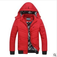 2014 new winter warmth plus detachable hooded cotton solid color men's fashion casual cotton