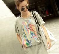 New 2014 Women Summer Dress Korean Fashion Short  Sleeve O-neck Zebra Printing Sports  Loose Dress Free Shipping 2648