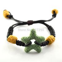 Lava Star Charms Bracelets Volcanic Rock Bracelets Leather Knitted Adjustable Bracelet For Men and Women