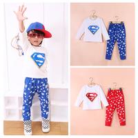 2014 Children's 2PCS Kids Boys Girls Baby Superman Hero sweatshirts+Pants Unisex Sets 2-6Years