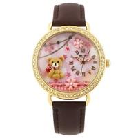 MN2000B Fashion originality MINI watch 3D bear watch DIY Handmade Genuine Leather Quartz Ladies watch 1pc+free shipping