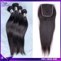 Best Malaysian straight hair 3 pcs lot with closure, Ali moda hair products malaysian virgin hair with closure, free shipping