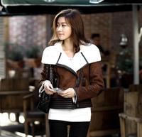 2014 Best NEW Women's Winter Fashion ONE FUR Coat Turn-Down Collar Female Plus Size S-XL Sheepskin Wool-One Outerwear WZ02-B