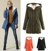 2014 plus size women clothing with a hood berber fleece long design thickening wadded jacket cotton-padded coat L-4XL