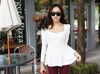 New 2014 Women Summer Dress Korean Fashion High Quality Long Sleeve O-neck Puff Sleeve Casual Sexy Dress Free Shipping 9917