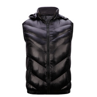 Black Windproof Men Warm Vest Jackets Plus Size L-3XL Good Brand Removable Hooded Style Man Casual Hooded Waistcoats