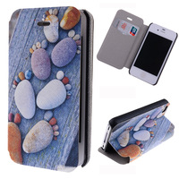 Colorful Cobblestone Footprint Pretty Case with Stand and Card Slot PU Case for iPhone 4 4s free shipping