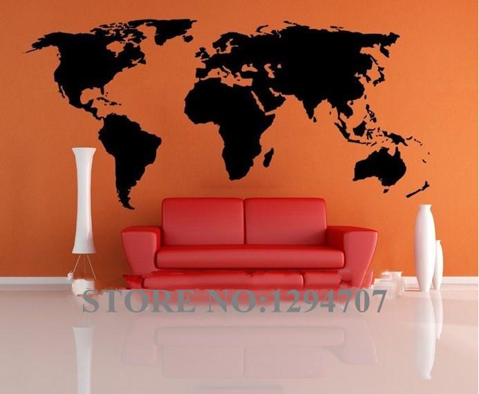 1 Stuks 200x90cm Best Verkochte Grote Wereldwijde Wereldkaart Vinyl Muursticker Home Decor