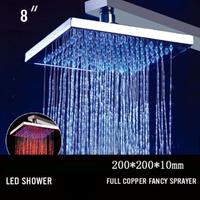 8 inch color digital display auto conrol sensor thermostatic shower valve rainfall led shower set