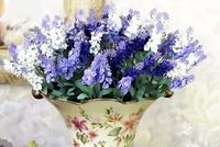 10pcs/lot Provence Lavender Silk Artificial Flowers 10 Heads Wedding Bouquet Home Decorative Handmade Decor Flower (no vase)